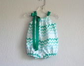 Baby Girl Chevron Stripe Bubble Romper - Aqua Teal & White Chevron Stripe Sunsuit - Baby Girl Clothes - Size Newborn, 3m, 6m, 9m, 12m or 18m