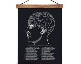 Pull Down Chart - Phrenology Reproduction Canvas Print. Anatomy Science Educational Diagram Human body Biology mystics gypsy - CP115BCVL