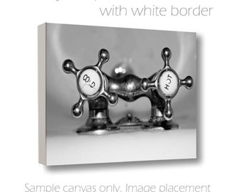 SALE-Bathroom Wall Art-Bath Tub Photograph-Silver Wall Decor-Cottage Chic Art-B&W Wall Art-Vintage Cold/Hot Bath Knob Photo-Wrapped Canvas