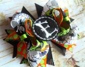 Halloween Bones Monogrammed Boutique Style Hair Bow Black Orange Lime Green Spider Webs