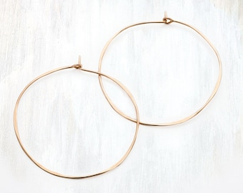Thin Hammered Gold and Rose Gold Hoop Earring