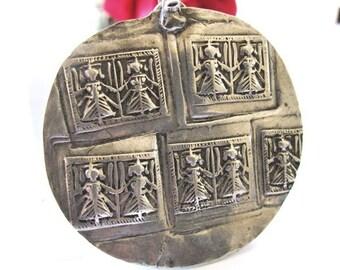 Antique Indian Amulet, Duo Goddess Hoi Mata Pendant, Rajasthan, India, High Grade Silver, 13 grams