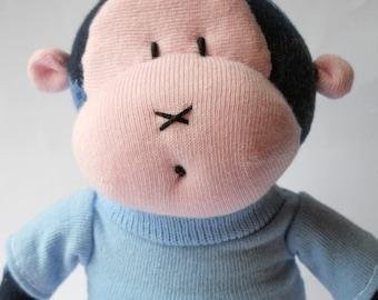 sock monkey, toy monkey, sock animal, blue monkey doll, sock toy, plush monkey soft toy