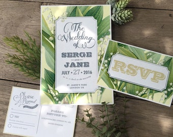 Digital - Printable Files - Lily of the valley Wedding Invitation and Reply Card Set