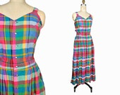 Vintage 90s Madras Plaid Maxi Dress / Summer Dress - women's 8 / medium