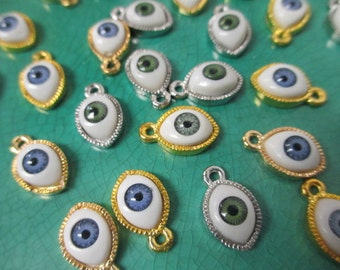 MINI EVIL EYE Charms lot of 25 Wholesale Realistic Iris - Resin and Metal