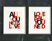 men's gift, All you need is LOVE, gift for boyfriend, LOVE is all you need,  Inspirational Print, Beatles Art, Gift for Music Lover