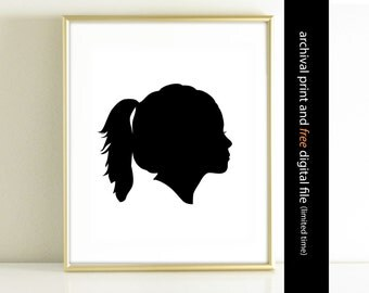 Custom Silhouette Art Print made from your photo, Children's Silhouette Print, Custom Printable Silhouette, Childrens Wall Art