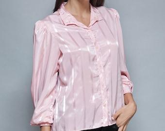 SALE vintage 70s pink blouse slinky jacquard satin long puff sleeves M MEDIUM