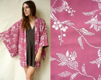 Vintage Floral Pattern Japanese Kimono Duster Jacket Haori