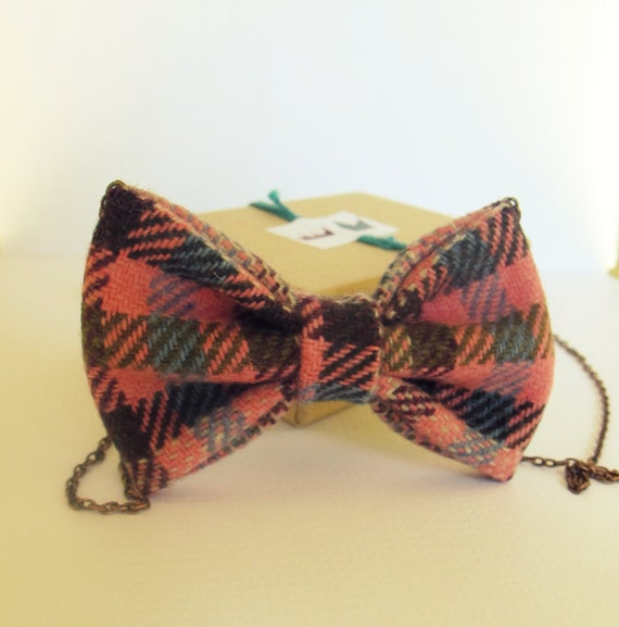Bow Tie Necklace - Pink Squares Fabric Checkered Bowtie Funky Bow