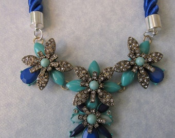 SALE Silver Flower with Blue Glass Beads Necklace