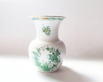 "Herend Hungary 6"" Porcelain Vase Hand Painted China Vase Green Floral"