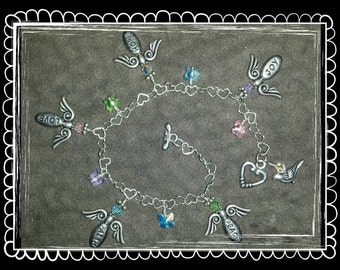 Guardian Angel Charm Bracelet . Pastel Butterfly Crystals . Sterling Silver Chain & Pendants . Hope Love Faith Peace . Protection . Handmade