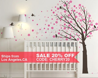 Tree Wall Decal . Cherry Blossom Wall Decal . Cherry Blossom Tree Wall Decal . Cherry Blossom Wall Art . LSWD-0088