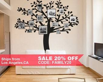Family Tree Wall Decal . Photo Frame Tree Sticker . Living Room Wall Decal . LSWD-0137