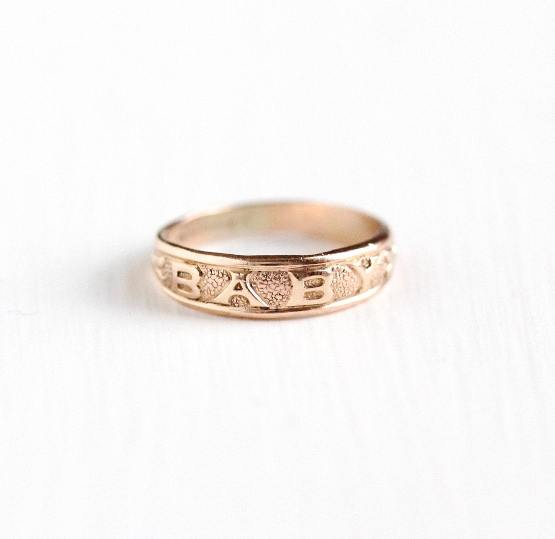 Vintage Art Deco 10k Rose Gold Filled Baby Ring By
