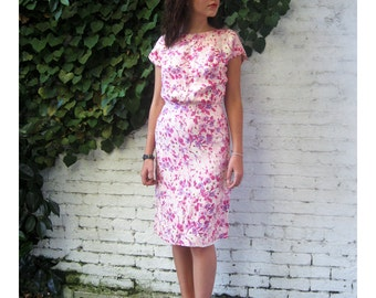 vintage 1950s dress all Silk floral Sheath Handscreened classic Sir james S