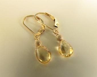 Petite Genuine Citrine Earrings, Gold Filled Earrings, Semiprecious Stones, Drops