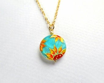 Sunflower pendant, sunflower necklace painted by hand, turquoise jewelry, sale jewelry