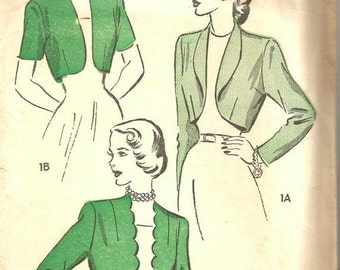 1940s Bolero Sleeve Variations Scalloped Placket Roll Collar or Collarless Advance 4897 Size 16 Bust 34 Women's Vintage Sewing Pattern