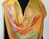 Hand Painted Silk Scarf. Terracotta, Olive Handmade Square Scarf SUMMER ROMANCE Silk Scarves Colorado. Extra-Large 35x35 square Wedding Gift