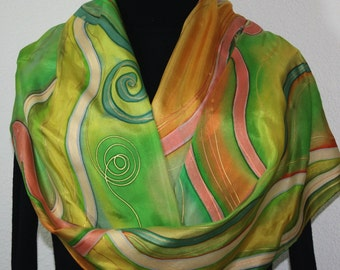Hand Painted Silk Scarf. Antique Green, Moss Green, Terracotta Handmade Scarf DREAMY WINDS. Silk Scarves Colorado. Offered in Several SIZES.