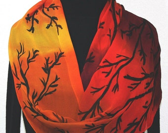 Hand Painted Silk Scarf Orange, Terracotta, Burgundy Handmade Chiffon Scarf SUNSET TREES. Size 11x60. Silk Scarves Colorado. Hand Dyed Scarf