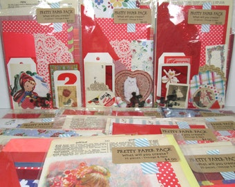 Vintage RED Ephemera Pack 25 Pieces, Destash Lot, Grab Bag, Altered Art Kit, Art Supply, Smash Books