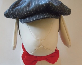 Newsboy Cap for Dog or Cat - Sizes S, M, and L - Gray Pinstripe