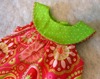 Toddler Dress Gypsy Bandana with Lime Yoke