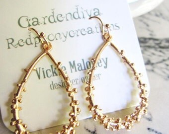 Rose Gold Bubbly Teardrop Hoops, Rose Gold Filigree Earrings, Urban Chic, Matte Pendant