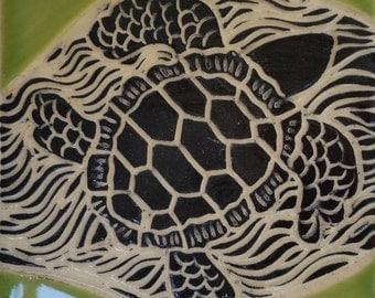 3 inch Sgraffito Sea Turtle Tile