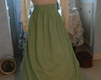 Edwardian -Victorian Era Style Green Gingham Checks Apron Long Half Large Hand-tied Back Bow HandMade