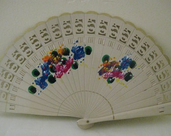 Regency/Victorian Style Fan. Brise Hand painted Wood. Off White flowers in blue and pink.