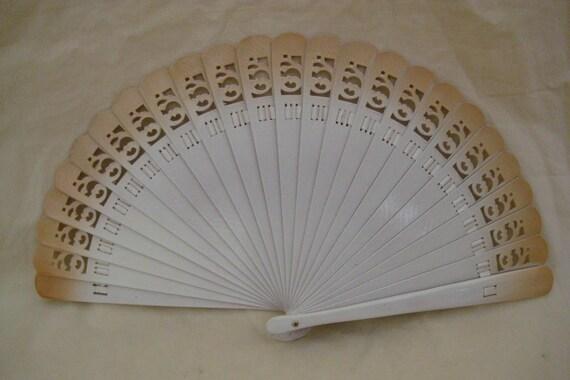 Regency/Victorian Style Fan. Brise Hand painted Wood. Cream/Biege