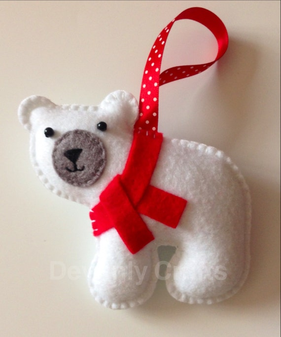Items similar to hand stitched felt polar bear christmas - How to make felt christmas decorations ...
