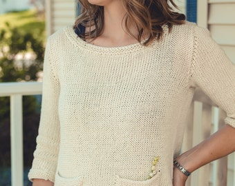PDF file knitting pattern for girls pullover