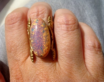 The Marie Antoinette Ring Neo Victorian Pink Opal