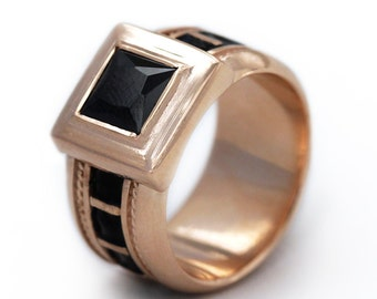 14k rose gold ring, Black pink ring, Engagement Ring, Black stone gold ring, anniversary gift, Black ring, fine jewelry, Enamel jewelry
