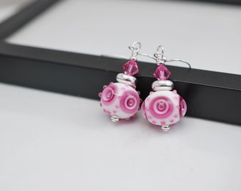 Pink Lampwork Earrings, Pink and White Lampwork Earrings, Pink Earrings, Pink Drop Earrings, Pink Beaded Earrings, Lampwork, Free Shipping