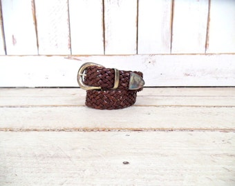 Vintage woven brown leather belt/boho/hippie wide leather boho belt/small/medium