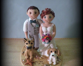 Wedding Cake Topper, Custom Bride and Groom with Two Pets, Dog, Personalized, Polymer Clay, Beach Theme, Wedding or Anniversary Keepsake