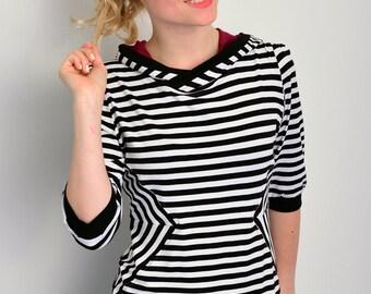 jersey hoodie - black/white striped - diamond