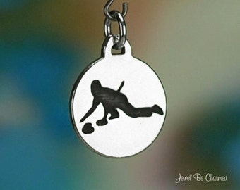 Sterling Silver Curling Charm Winter Sport Ice Game Curlers Solid .925