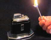 1930s Ronson Lighter Touch Tip Lighter Octette Table Lighter Art Deco Black Enamel Lighter Excellent Working Condition