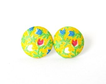 Yellow earrings - bright button earrings - summer stud earrings - fabric covered happy green blue red flower