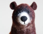 Felt  Bear - Grisha. Art Toy,  Puppet Grizzly bear kids gift Marionette Stuffed plush Animal Felted Toys Woodland animals. brown, green.