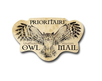 HARRY POTTER Inspired Prioritaire owl mail stickers - Owls Postcard stickers for Harry Potter fans. Post Set of 20