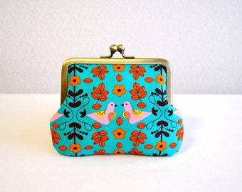 53 Retro bird coin purse - turquoise, blue, orange, frame purse, clasp purse